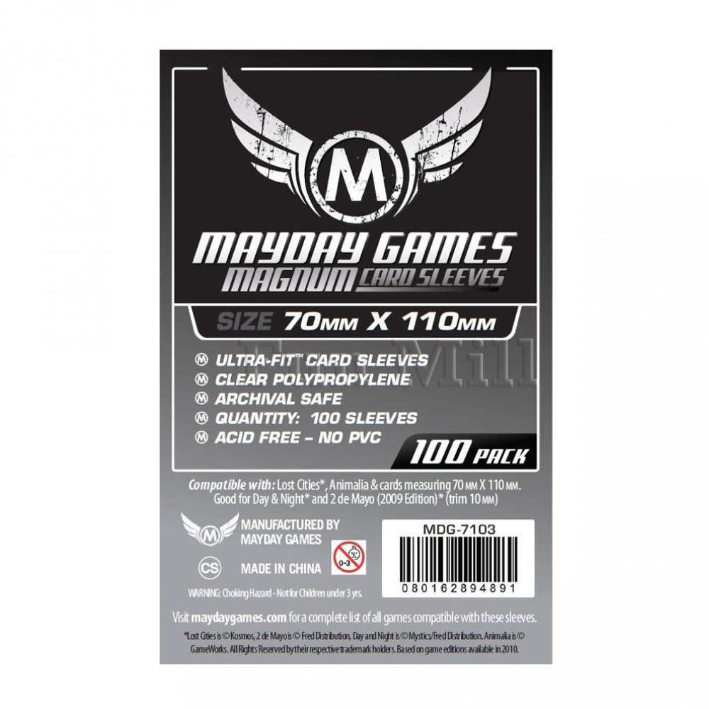 Протекторы MayDay 70 на 110 мм (Lost Cities Card Sleeves - Magnum Ultra-Fit)